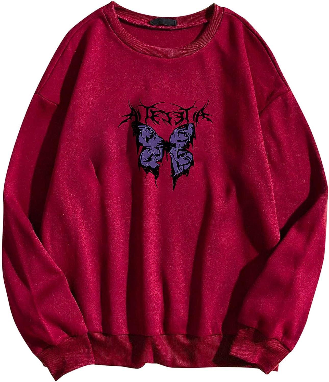 Women Long Sleeve Sweatshirt Fashion Max 49% OFF Printing Cheap bargain Casual O Butterfly