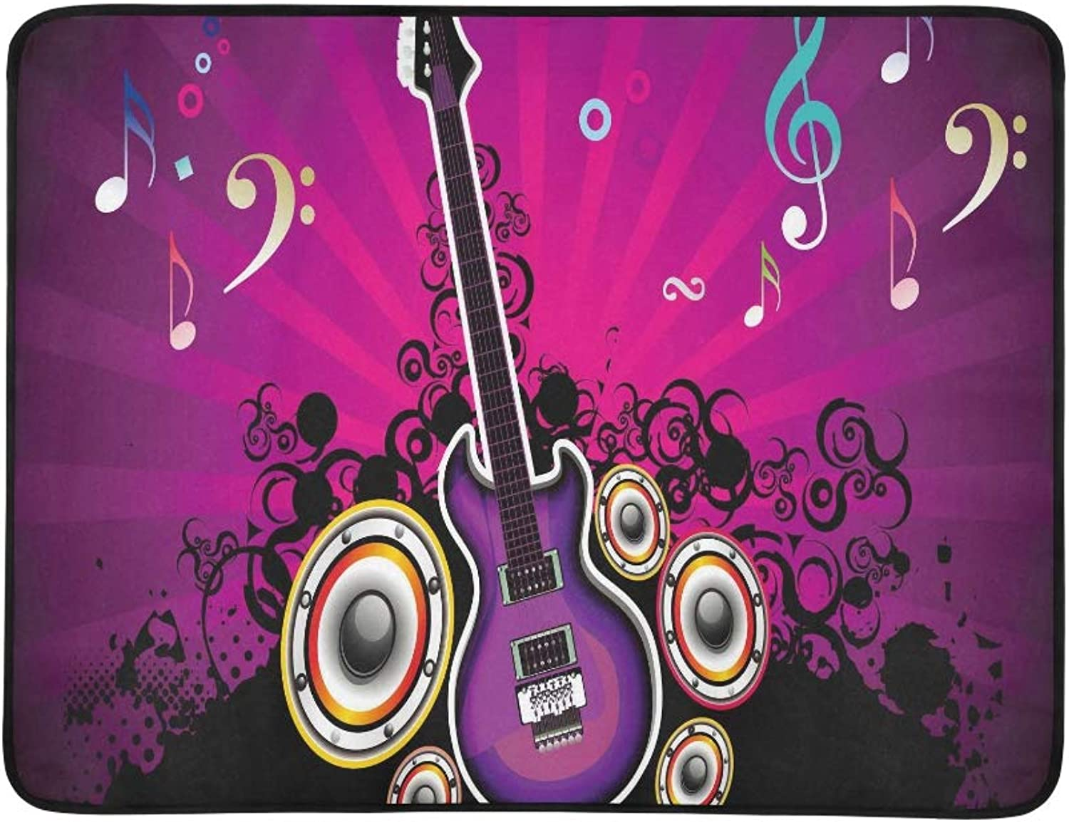 Abstract colorful Musical Night with Guitar Vector Pattern Portable and Foldable Blanket Mat 60x78 Inch Handy Mat for Camping Picnic Beach Indoor Outdoor Travel
