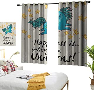 """RuppertTextile Customized Curtains Believing Unicorns Quote Illustration with Star Elements Happiness Joy Friendship 63"""" Wx63 L, Darkening and Thermal Insulating"""