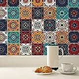 KAIRNE 24 Pezzi Piastrelle e Cucina Stickers,Retro Adesivi per Piastrelle per Bagno,Impermeabile PVC Autoadesivo Decorazione,Adesivo per Pavimento de Cucina,Adesivo Murale di Mosaico Fai Da Te,15×15cm