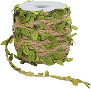 Tenn Well 66Ft Natural Jute Twine, 5MM Burlap Leaf Ribbon with Artificial Vine Green Leaves for Wedding Home Garden