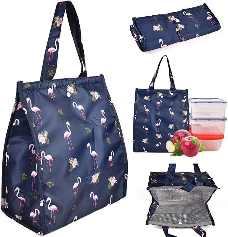 CLian Lunch Bags For Women Lunch Box Insulated Lunch Tote Bag Freezable Cute Lunchbox Large Reusable Lunch Bag Lunch Organizer Lunch Holder For Women Adult Girls Kids Men DarkBlue Flamingo