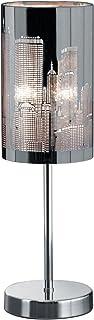 Trio Leuchten 598400106 Lampe de table en chrome avec abat-jour en acier inoxydable découpé au laser Motif Metropoël 1 amp...