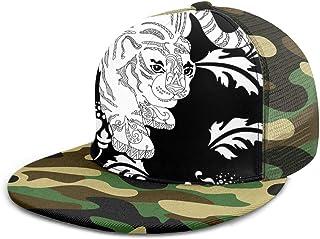 SLHFPX Baseball Cap Mesh Back Animal White Tiger and Flowers Sun Trucker Snapback Hats Women Men