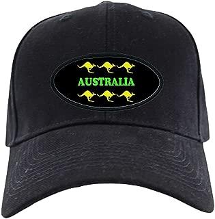 Kangaroos Australia Black Cap Green & Gold Baseball Hat, Novelty Black Cap