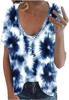 ESKNAS Womens Blouse Summer Tie-dye Print Short Sleeves T-Shirts V-Neck Loose Casual Tee Tops