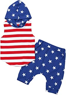Noubeau 2Pcs/Set Baby Boy Patriotic 4th of July Outfits,Sleeveless T-Shirt Top+Harem Pants