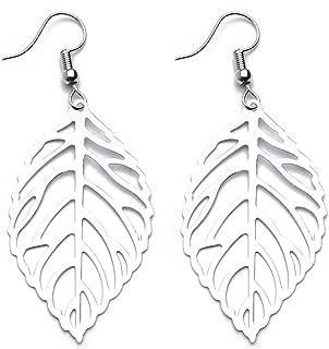 Mayshow Floral 3D Filigree Hollow Leaf Hook Drop Dangle Earrings