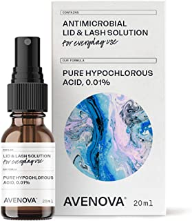 Avenova Antimicrobial Eyelid and Lash Cleanser - Soothing Formula, Effective Relief from Irritation, Dry Eyes, Styes and Blepharitis. Pure and Gentle Hypochlorous Acid Spray, 20mL (0.68 oz)
