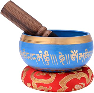 Meditation Sound Bowl, Tibetan Singing Bowl Set, Handcrafted in Nepal, with Dual Surface Mallet and Silk Cushion, for Rela...