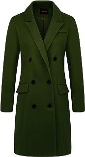 معطف Chouyatou النسائي ذو التصميم الأساسي ذو طية صدر مزدوجة في منتصف طويل من الصوف