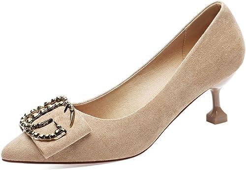 DKFJKI Frauen Pumps High Heels Stilettos Spitze Schuhe Metalldekoration Fashion Joker Kleid Schwarz Arbeitsschuhe