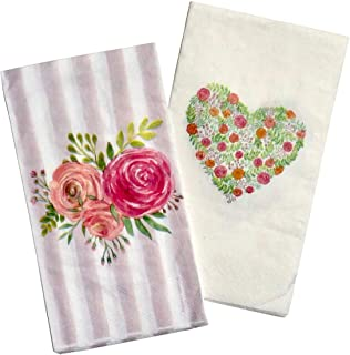 Striped Rose Bouquet & Floral Heart Guest Towels Hostess Napkins, Set of 2 (16 pc ea)