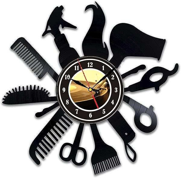 Hairdresser Barber Shop Salon Gift Wall Clock Made Of Vinyl Record Beauty Salon Decor Hair Salon