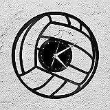 jjyyy Pelota de Voleibol Reloj de Pared de Vinilo Deportes Pareja Decoración del hogar Diseño Retro Oficina Bar Habitación Decoración del hogar