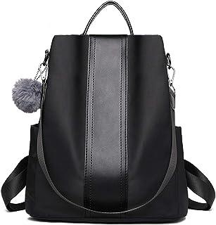 Mochila para mujer, bolsos de mano, moda, nailon, bolso de hombro, antirrobo, impermeable, mochila escolar, mochila escolar para mujeres y niñas (mochila negra para mujer)