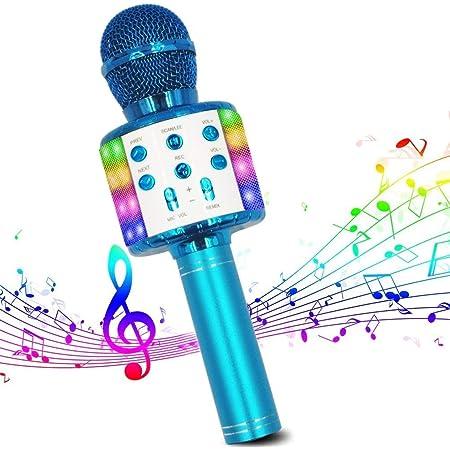 Microphone Sans Fil Karaoké, Micro Bluetooth Lecteur karaoké Portable 4 en 1 avec lumières LED dansantes compatibles avec les appareils Android et iOS pour la maison KTV/Fête/Enfants chantant