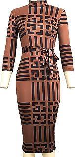 فستان متوسط الطول للنساء، فستان بودي كان ضيق مخطط بالوان مخططة وكم ثلاثة ارباع