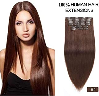 """Clip in Hair Extensions Chocolate Brown, Showjarlly Hair 18"""" 150gram 10 pieces Soft Silky Long Remy Human Hair Double Weft..."""