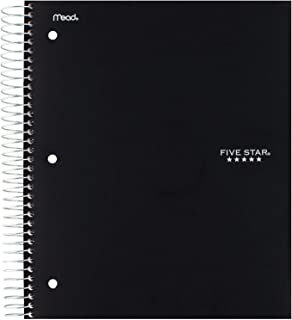 """Five Star Spiral Notebook, 5 Subject, College Ruled Paper, 200 Sheets, 11"""" x 8-1/2"""", Color Selected For You, 1 Count (06208)"""