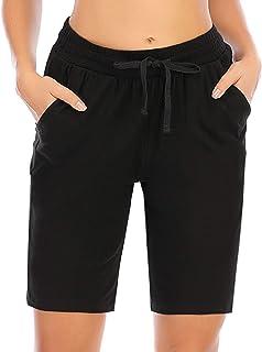 COOrun Sportshorts dames bermuda zomer loopshorts trekkoord korte joggingbroek met zakken