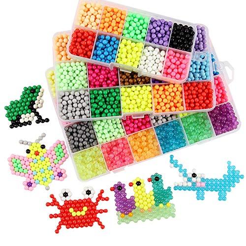 FunBeads Nachfüllset für Regelmäßige Größe 5mm Aqua Perlen Bastelset Starter Set Designer Kollektion für Kinder Komplett-Set (30 Farben, 6000 Perlen)