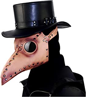 XIUHAO Plague Beak Mask, Steampunk Mask Retro Vintage PU Leather for Masquerade Cosplay Halloween Christmas Dress Up Props, Brown