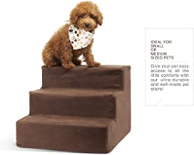 Delxo High Density Foam 3 Tier Pet Stairs,Comfy Micro Suede Pet Steps with Machine Washable Zippered Removable Cover with Anti-Slip Black Dot Bottom Loads 44lbs