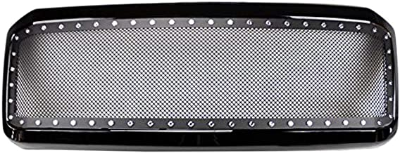AA Products Front Grille Compatible Ford Super Duty F250 F350 F450 F550 1999 up to 2004 Black Rivet Steel Wire Mesh Replacement Grille with Shell Gloss Black