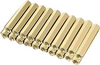 uxcell 25pcs Brass Straight PCB Pillar Female Thread Hex Standoff Spacer M3x5x4mm
