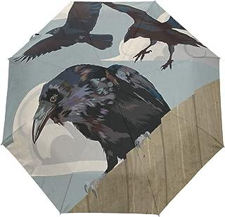 Travel Umbrella Crow Wild Auto Open Compact Folding Sun & Rain Protection Umbrella with UV Protection Windproof