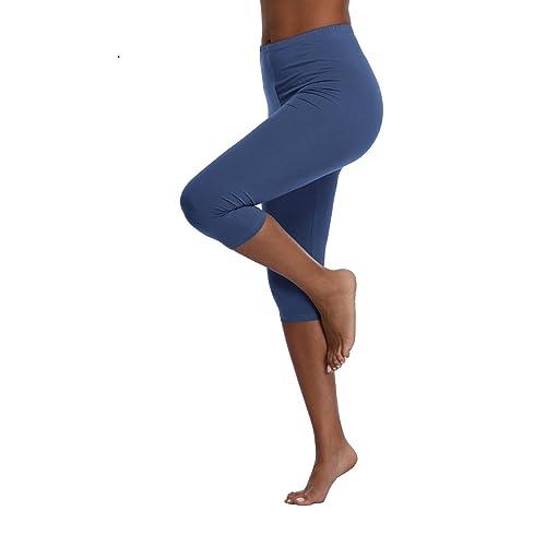b190a6474 Kotii Women s Lightweight Soft Capri Leggings Crop Leggings 3 4 Stretch  Yoga Pants