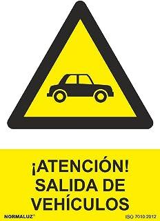 Normaluz RD30076 - Señal ¡Atención! Salida De Vehículos PVC Glasspack 0,7 mm 21x30 cm