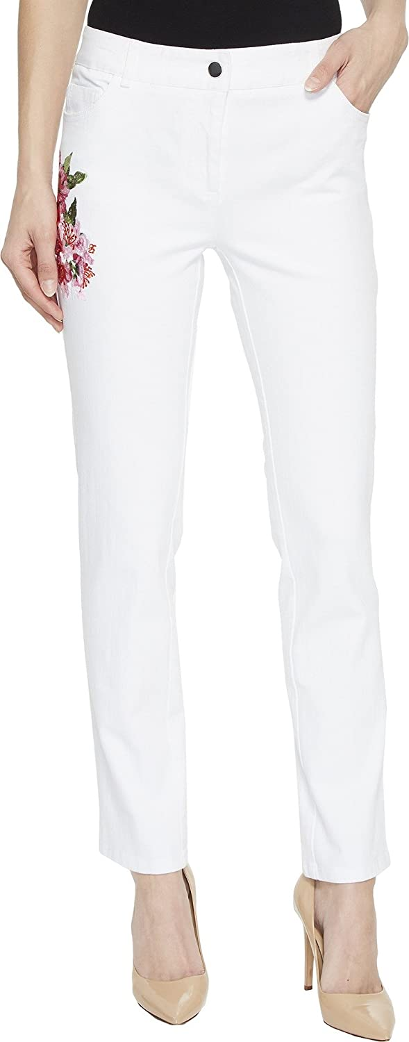 Elliott Lauren Womens FivePocket Jeans with Floral Embroidery in White