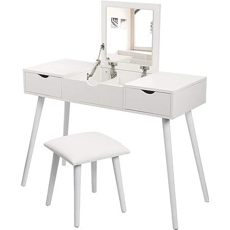 Cikonielf Tavolo da Toletta con Cassetti,Set da toeletta Moderno alla Moda,5 cassetti,3 Specchio,Bianco,111x141 cm