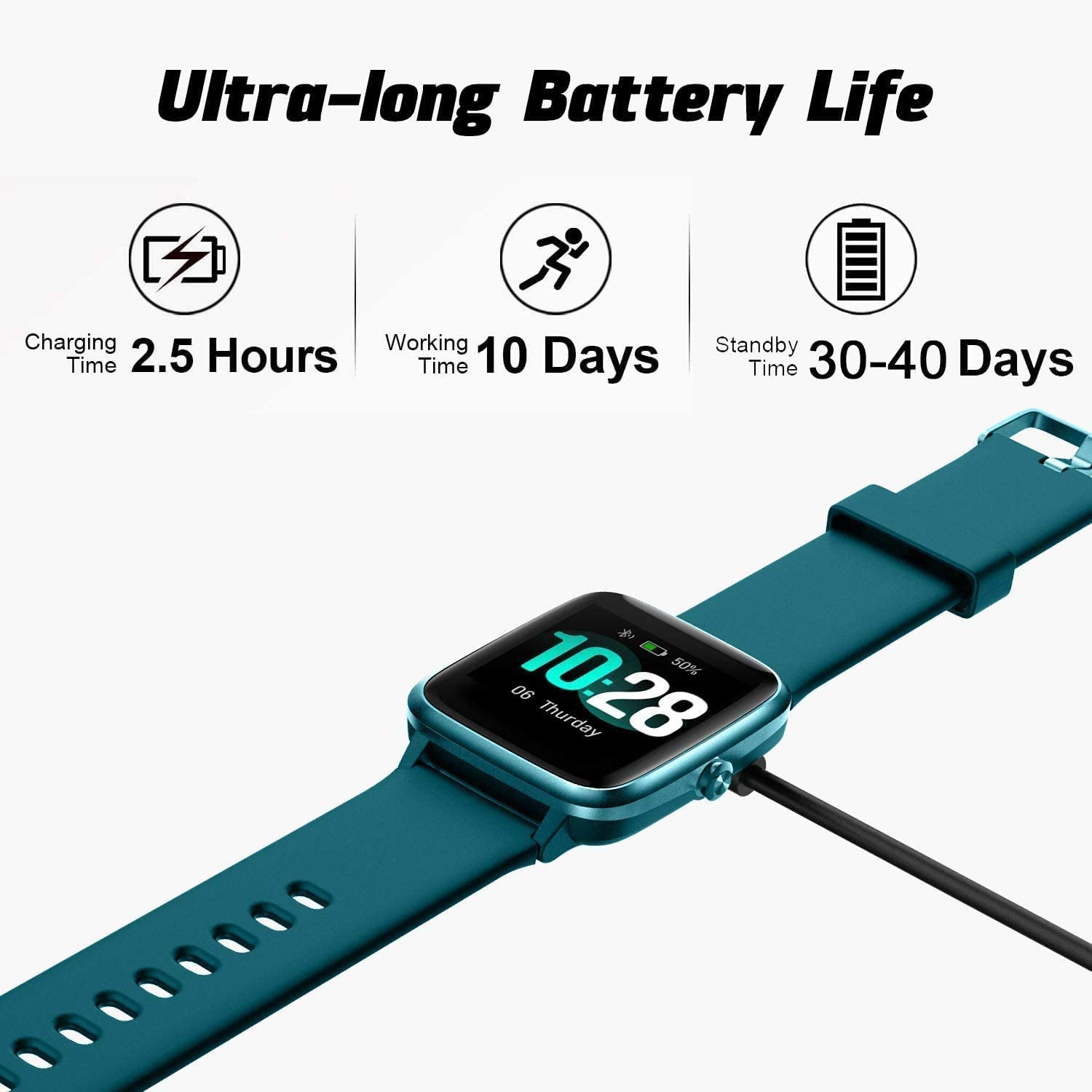 Smart Watch Fitness Tracker IP68 Waterproof Men Women Kids 1,3 Touch Screen Activity Tracker with Heart Rate//Sleep Monitor Pedometer Step Calorie Counter Stopwatch SMS Notification for IOS Android