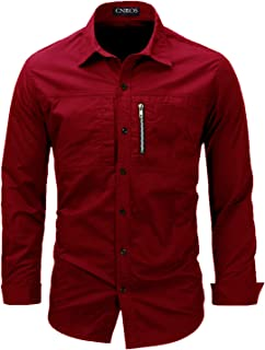Mens Casual Long Sleeve Shirt, Solid Color Army Style Male Work Shirts, 2 Pockets Troops Man Shirt