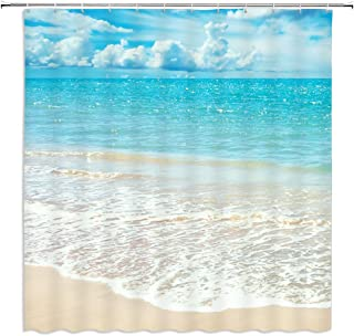 Ocean Beach Shower Curtains Blue Sky Scenery Waterproof Polyester Fabric Home Bathroom Decor Accessories Curtain Set Machine Washable 69 x 70 Inch Includes Hooks