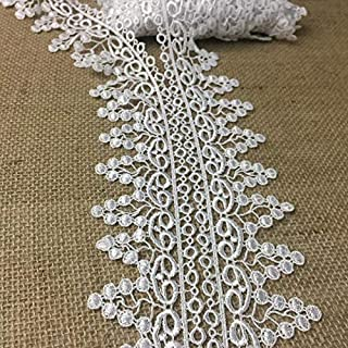 "1//2/"" White Pearl Embroidered Daisy Floral Lace Sewing Notion Sold by 2 Yards"