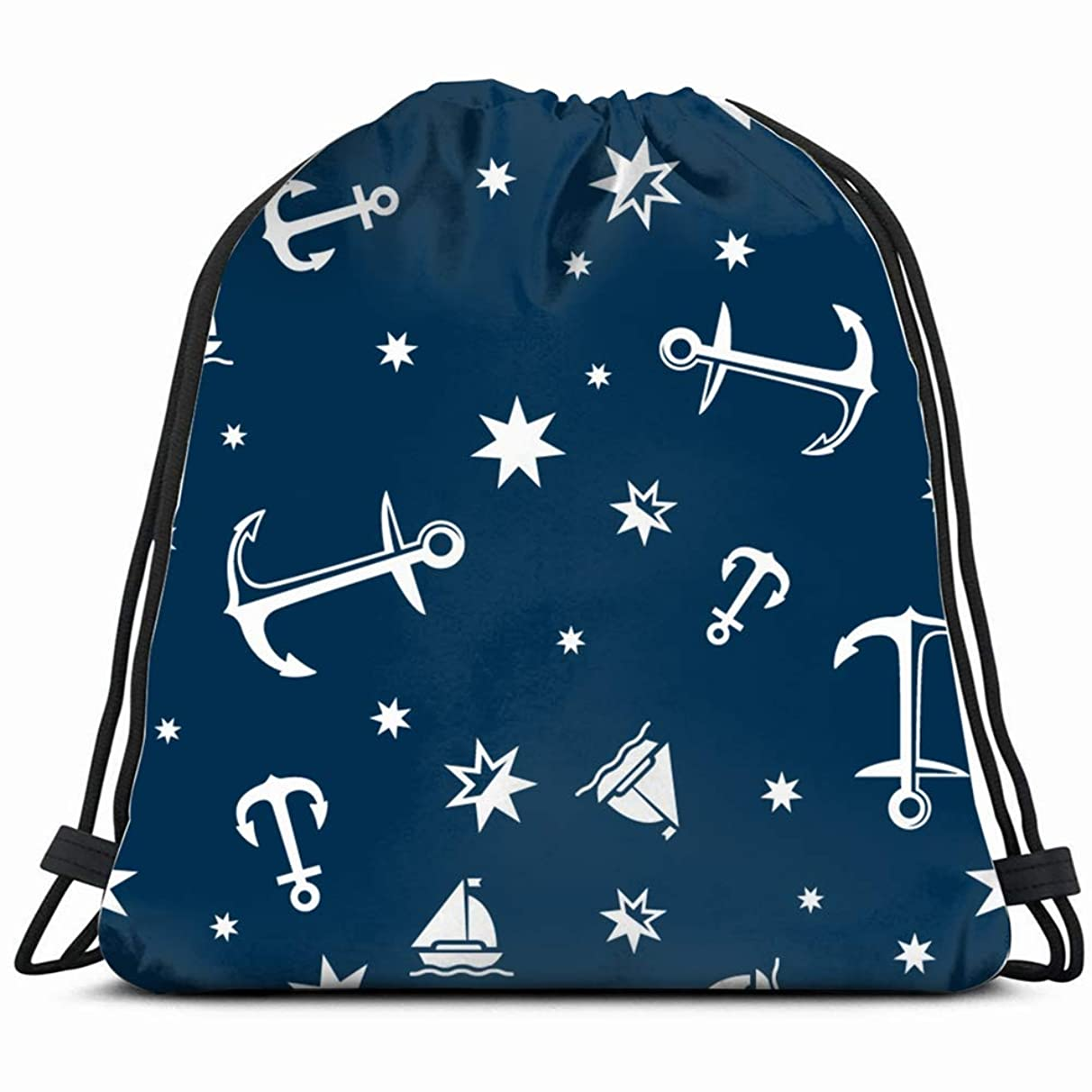 nautical marine sea objects Drawstring Backpack Gym Sack Lightweight Bag Water Resistant Gym Backpack for Women&Men for Sports,Travelling,Hiking,Camping,Shopping Yoga