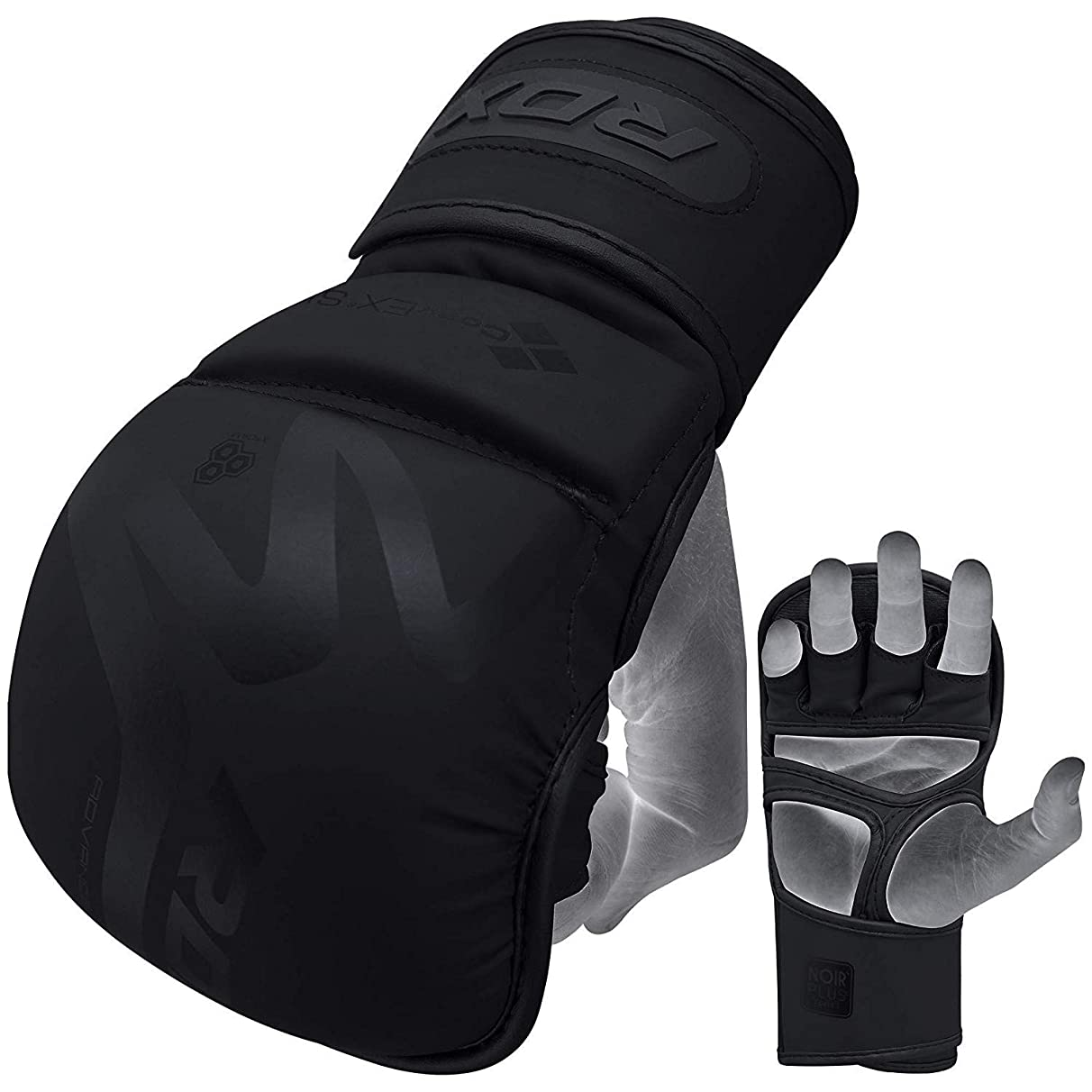 RDX MMA Gloves for Martial Arts Training & Sparring | Y-Volar Palm Matte Black Convex Skin Leather Grappling Mitts |Great for Kickboxing, Muay Thai, Punching Bag & Cage Fighting