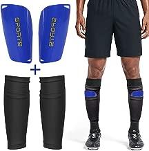 Dokpav Football Shin Guard Socks + Shin Pads Sleeves Double Layer Mesh Breathable for Football Games Beginner Elite Athlete Running Jogging Fitness - Children Boys Girls Men(Adult:Black + Blue)