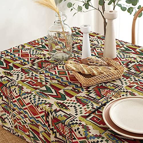 DSman Borla del Paño de Tabla del Lino del Algodón para la Cubierta de Tabla de Cena del Banquete Poliéster Bohemio de Estilo étnico teñido en Hilo