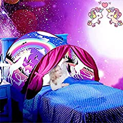 "√Only ""VBY"" is genuine, all others are counterfeit, please buy from ""manufacturer-VBY"". √Kids dream bed tent with 4 character space adventure, dinosaur island, unicorn fantasy,winter wonderland, bring kids endless imagination, turn your child sleep i..."