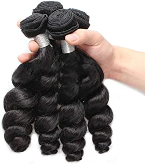 """Natural Hairpieces (12""""-26"""", 100g/bundle)9A Curly Hair Bundles For Women Brazilian Loose Wave Virgin Human Hair Natural Color (Color : Black, Size : 14 inch)"""