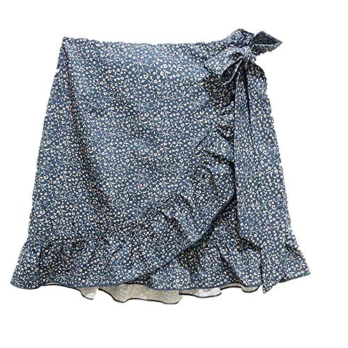 N\P Faldas para mujer de verano, casual, cintura alta, estampado floral con volantes y cremallera para playa