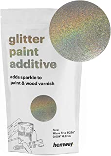 Hemway MICROFINE Glitter Paint Additive Emulsion Water Based Paints 100g (Gold/Silver Holographic)