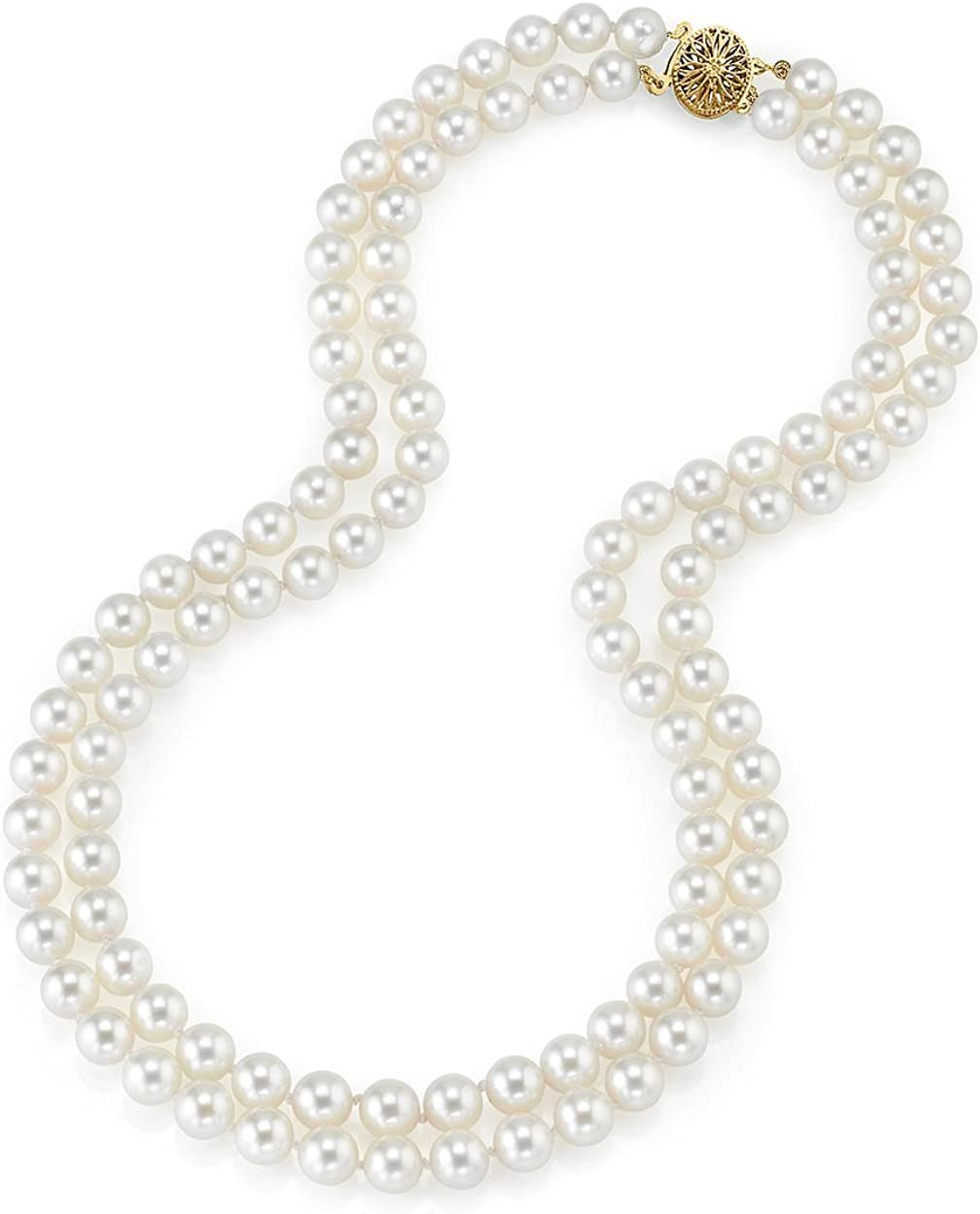 THE PEARL SOURCE 14K Gold Round Genuine White Double Japanese Akoya Saltwater Cultured Pearl Necklace in 18-19