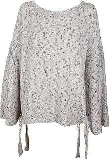Women's Mélange Side Tie Crewneck Sweater White Size L