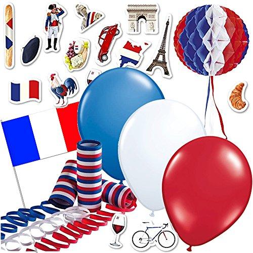 315-teiliges Dekoset * Frankreich * für eine Länder-Party // mit Hänge-Dekoration + Fahnen + Picker + Luftballons + Luftschlangen + Konfetti // Deko Dekoration Set Mottoparty France